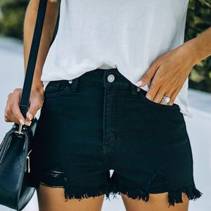 NWT Kan Can Black Distressed Cut Off Shorts